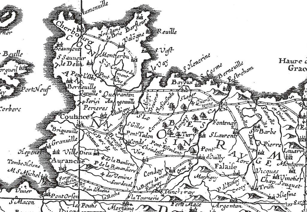 Carte géographique des Gaules (détail), Jean Boisseau, 1645, avec le report sur carte des itinéraires décrits dans La Guide des Chemins publiée par Charles Estienne en 1552 (cl. Association)