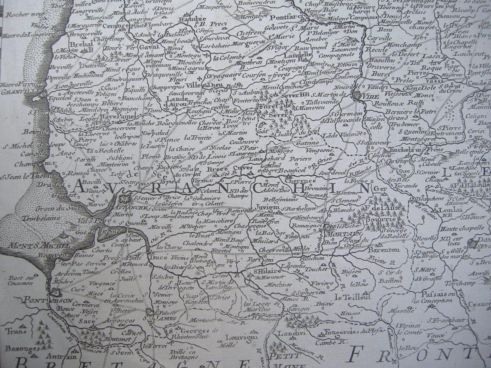 Carte de Normandie (détail), Guillaume Delisle, 1716, avec les principaux Grands Chemins des environs du Mont-Saint-Michel (cl. Association)
